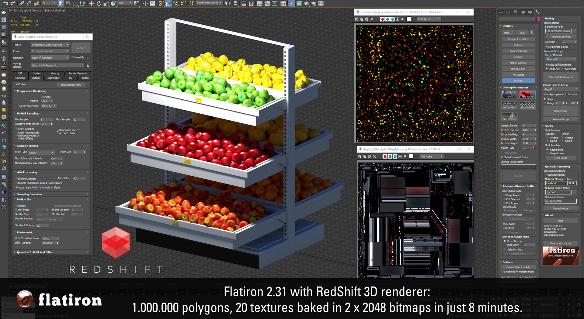 FlatIron 2.31 with Redsift 3d texture baking support