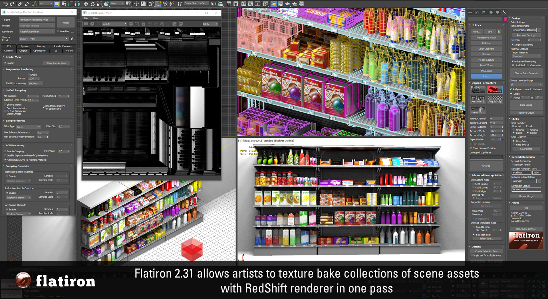 FlatIron 2.31 with Redsift 3d texture baking support